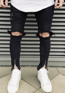 Distressed Zipper Jeans - INKOSI-APPAREL