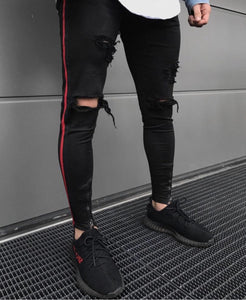 Distressed Red Striped Jeans - INKOSI-APPAREL