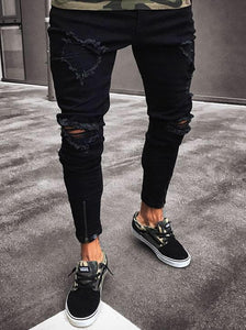 Distressed Slim Black Jeans - INKOSI-APPAREL