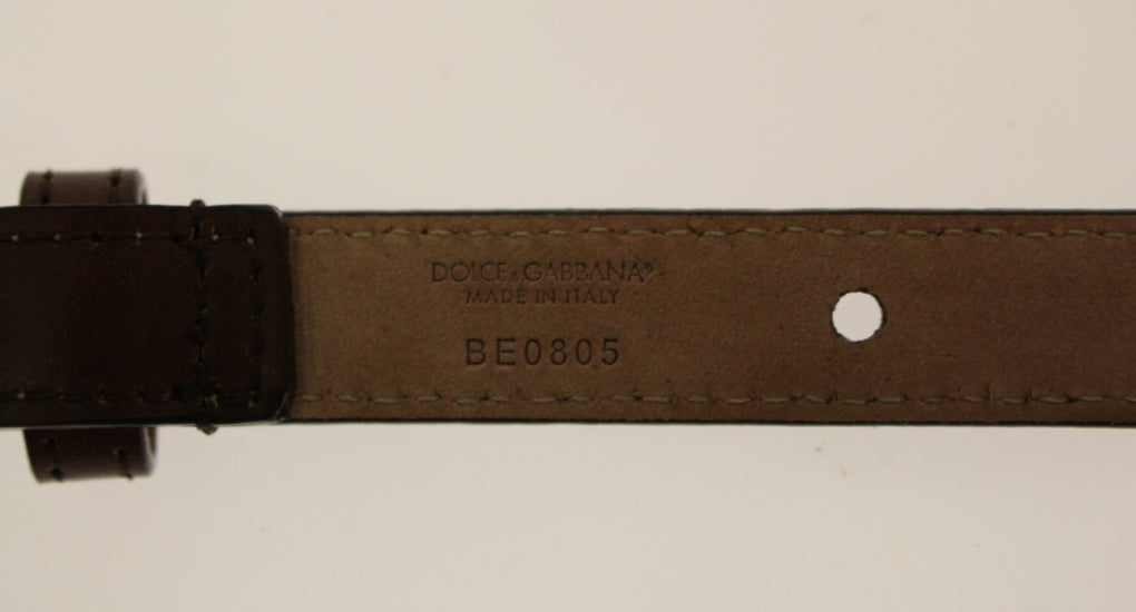 Brown Leather Logo Waist Belt - EnModaLife.Com