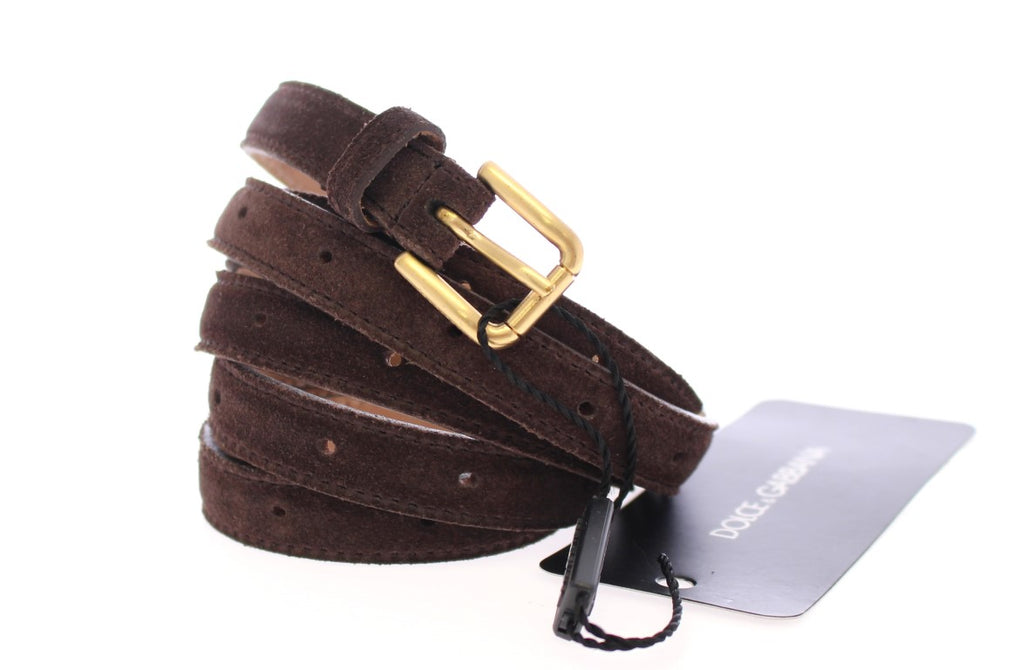 Brown Suede Leather Logo Belt - EnModaLife.Com