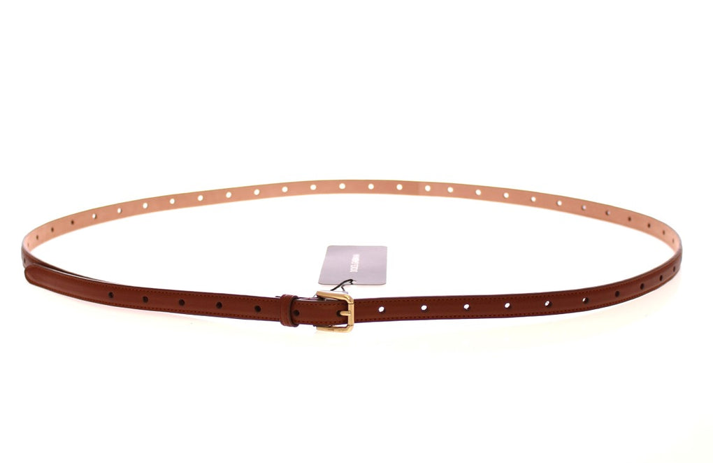 Brown Leather Skinny Belt - EnModaLife.Com