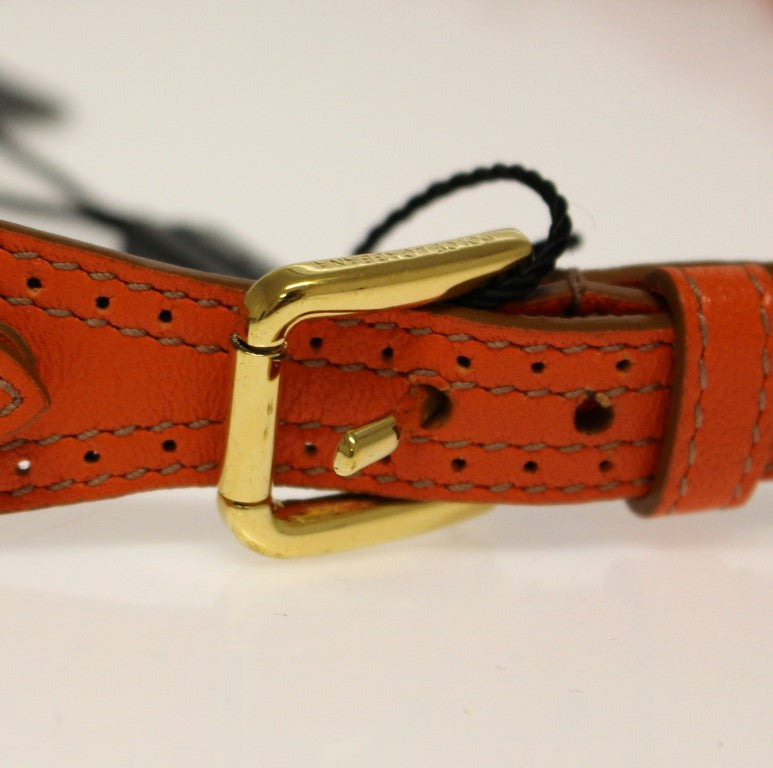 Orange Leather Multicolor Beaded Belt - EnModaLife.Com
