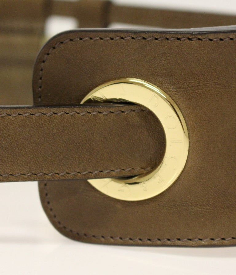 Brown Leather Logo Straw Belt - EnModaLife.Com