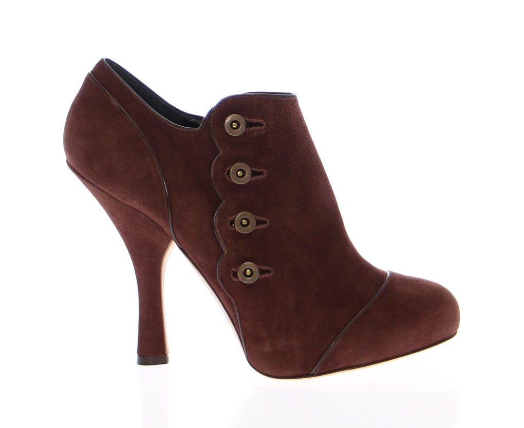 Brown Leather Suede Ankle Boots Shoes - EnModaLife.Com