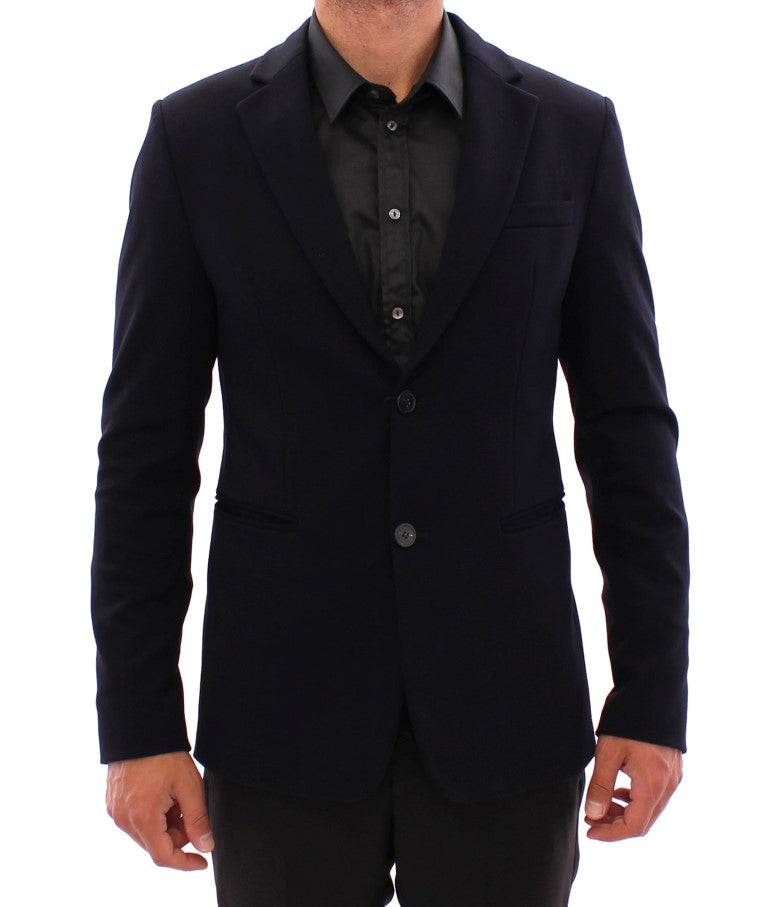 Marine blue slim fit blazer - EnModaLife.Com