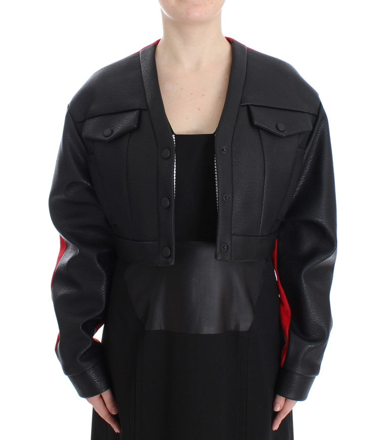 Black Short Croped Coat Bomber Jacket - EnModaLife.Com