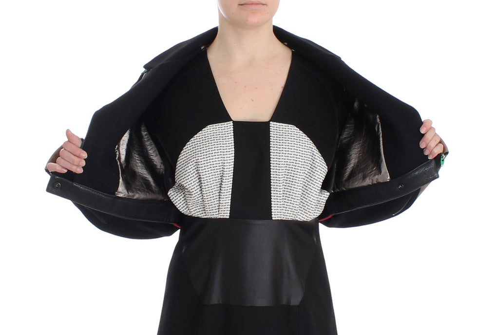 Black Short Croped Coat Biker Jacket - EnModaLife.Com