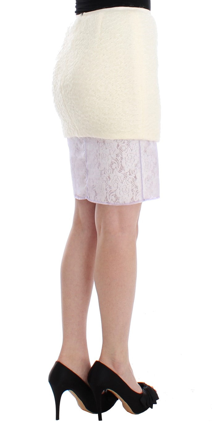 White Pencil Lace Skirt - EnModaLife.Com
