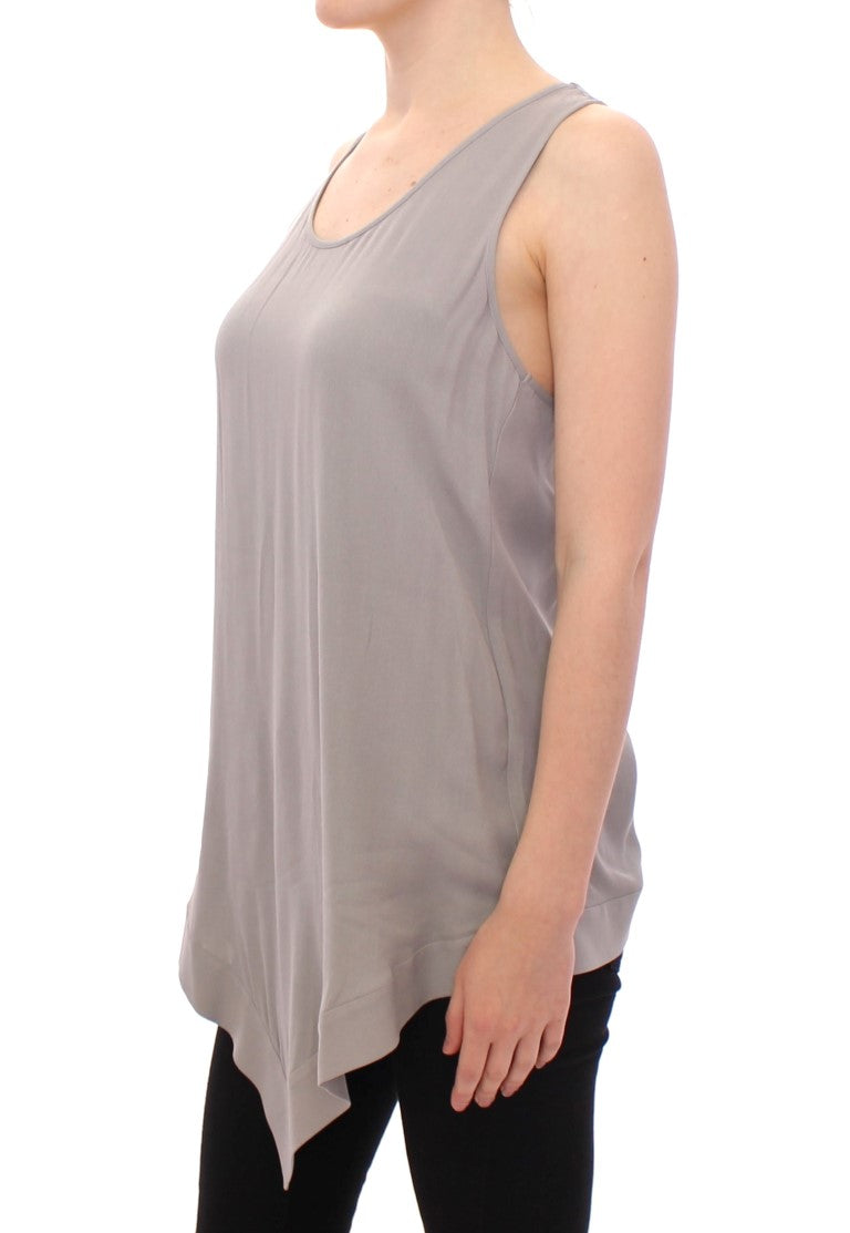 Gray Viscose Tank Top Shirt Blouse - EnModaLife.Com
