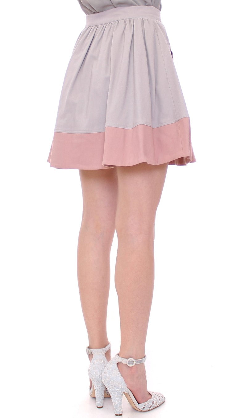 Pink Gray Mini Short Pleated Skirt - EnModaLife.Com