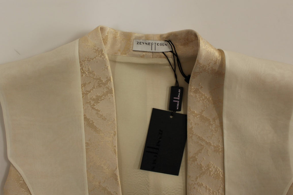 Beige brocade sleeveless jacket vest - EnModaLife.Com