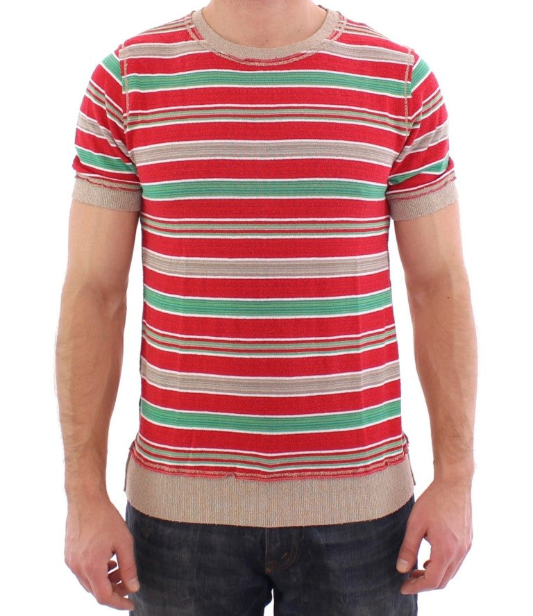 Multicolor striped crewneck t-shirt - EnModaLife.Com