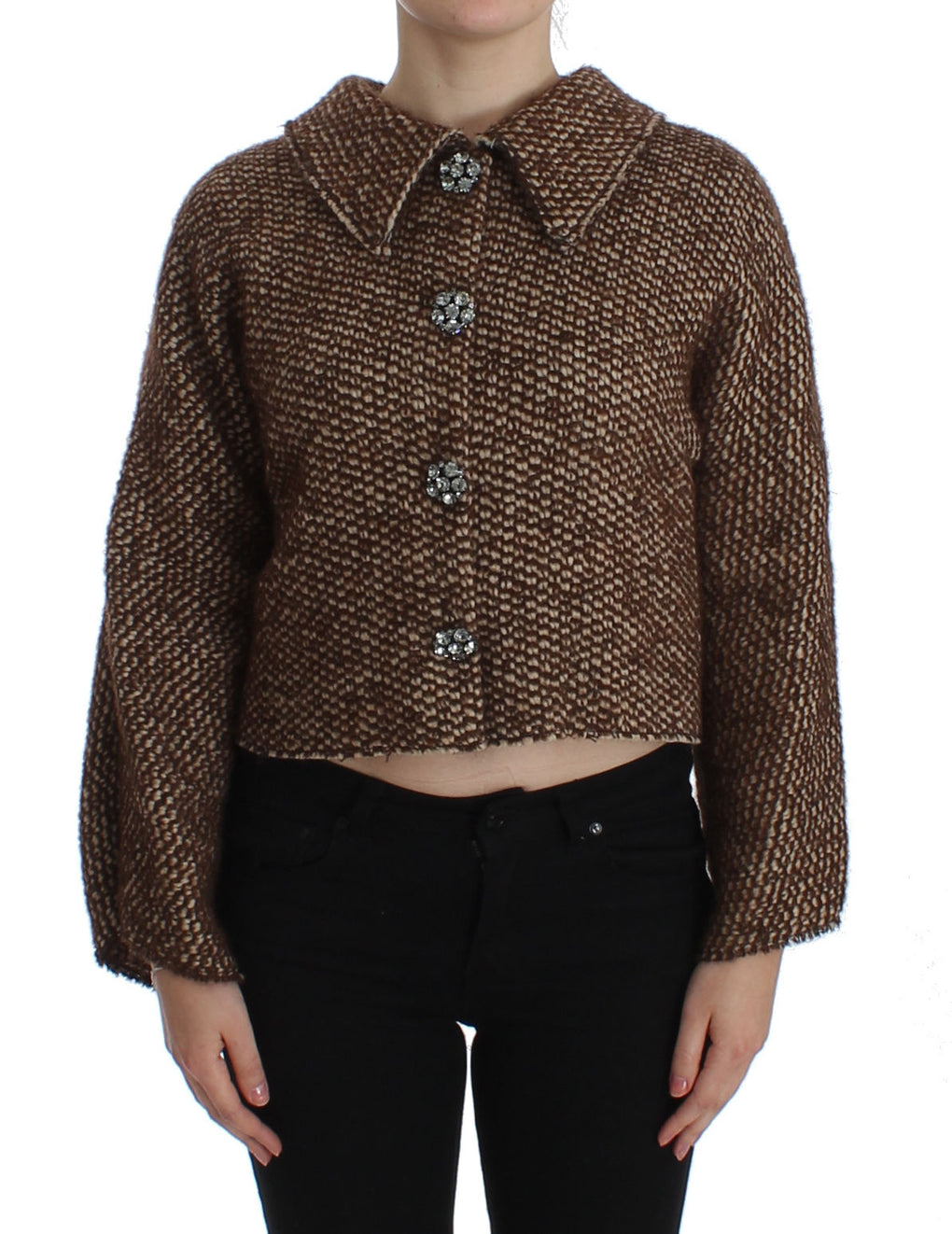 Brown Wool Tweed Crystal Jacket Coat - EnModaLife.Com