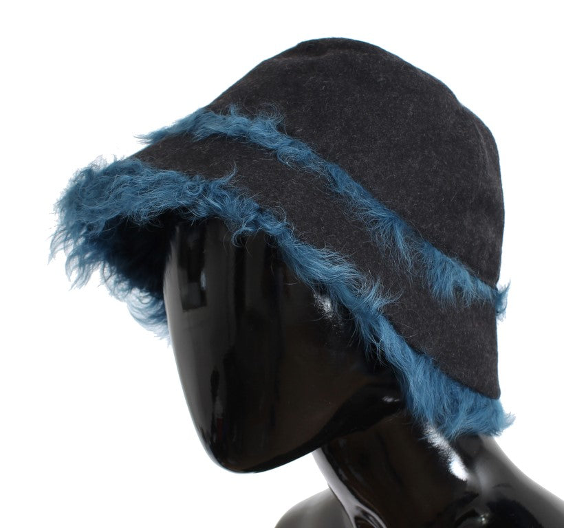 Gray Wool Blue Shearling Cloche Hat - EnModaLife.Com