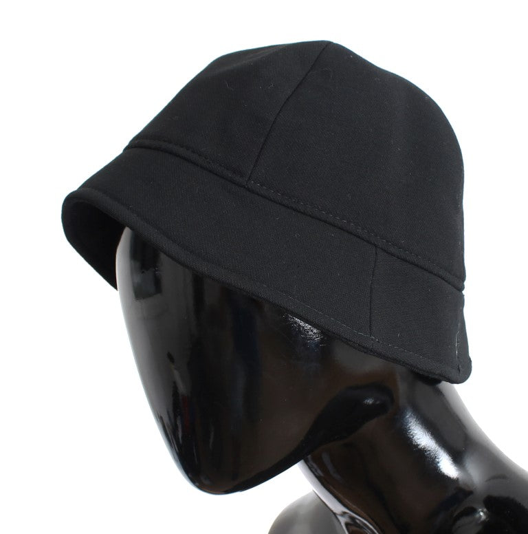 Black Wool Logo Womens Bucket Hat - EnModaLife.Com
