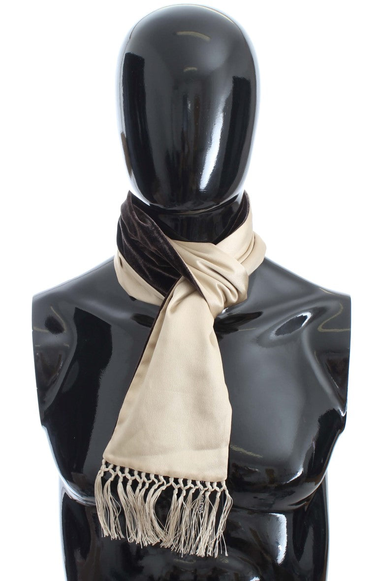 Beige Brown Silk Scarf - EnModaLife.Com