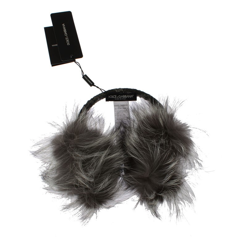 Gray Fox Fur Crystal Ear Muffs - EnModaLife.Com