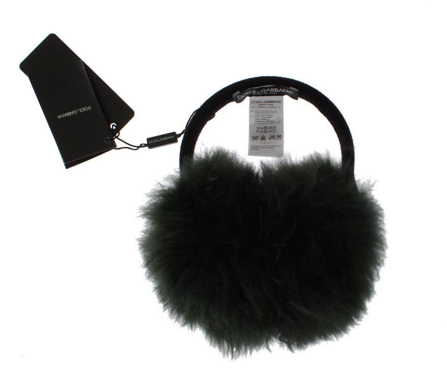 Green Shearling Alpaga Wool Ear Muffs - EnModaLife.Com