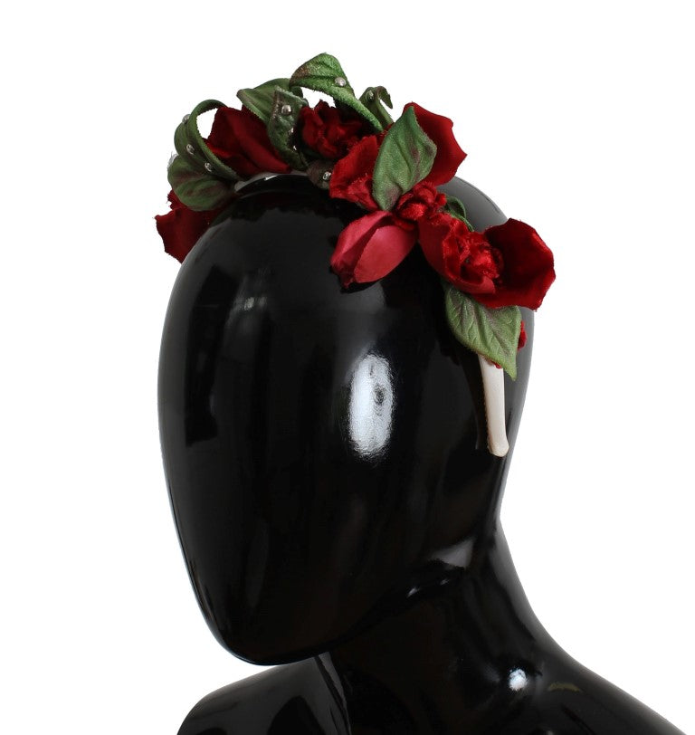 Green Red Roses Floral Studded Silk Headband - EnModaLife.Com