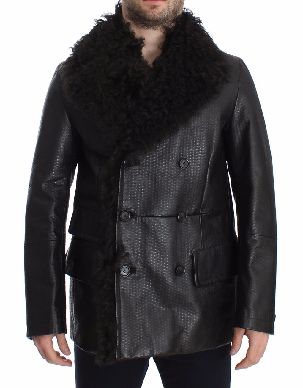 Black Lambskin Leather Jacket Trenchcoat - EnModaLife.Com