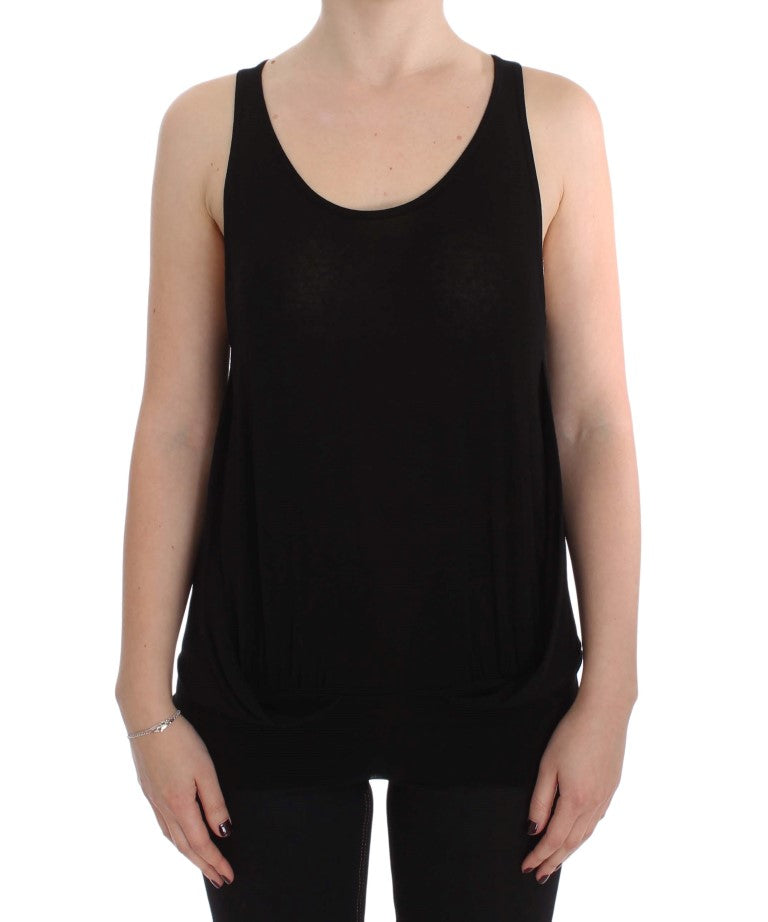 Black Stretch Sleeveless Blouse - EnModaLife.Com