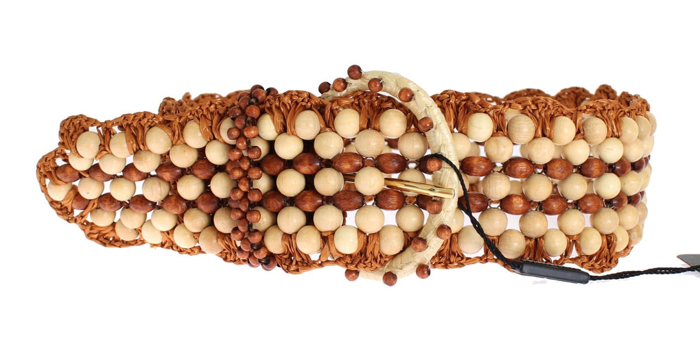 Brown Raffia Wood Beaded Wide Waist Belt - EnModaLife.Com