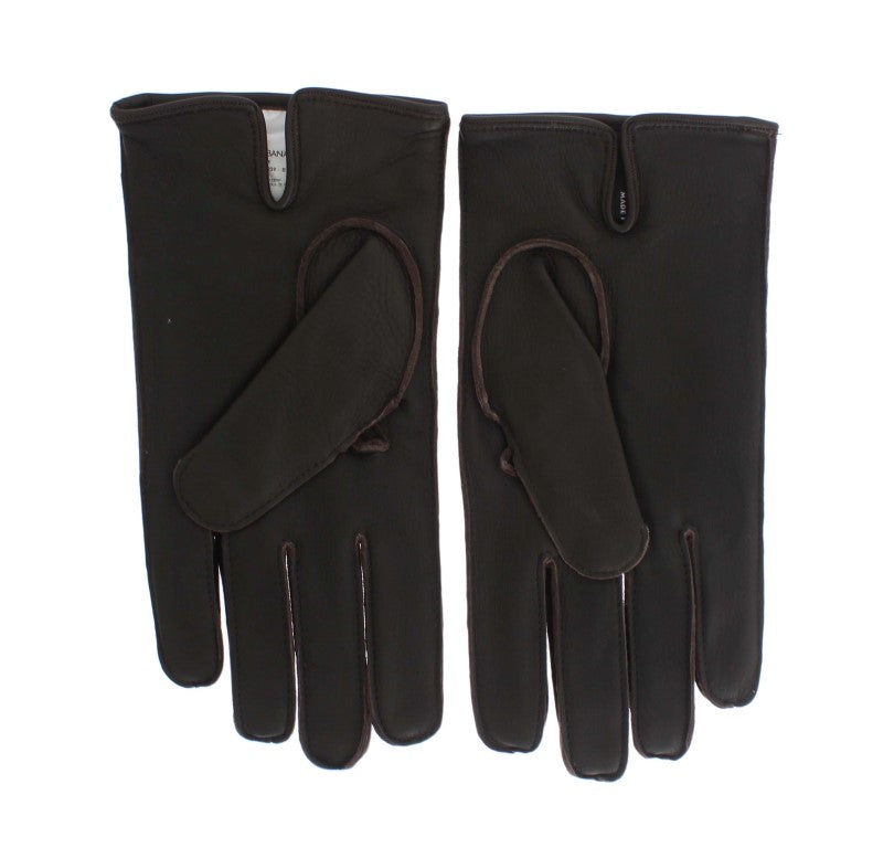 Brown Leather Cashmere Gloves - EnModaLife.Com