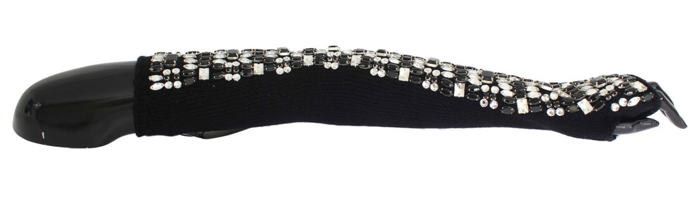 Black Cashmere Crystal Finger Less Gloves - EnModaLife.Com