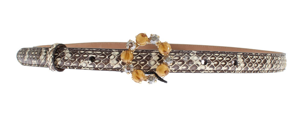 Gray Snakeskin Crystal Buckle Belt - EnModaLife.Com