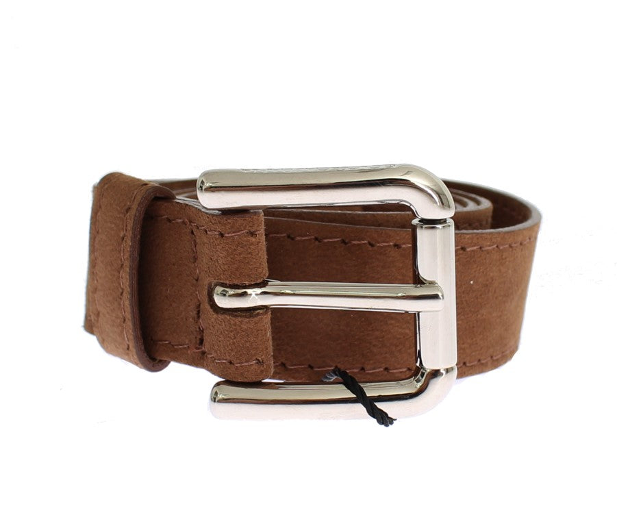 Brown Suede Silver Buckle Logo Wide Belt - EnModaLife.Com