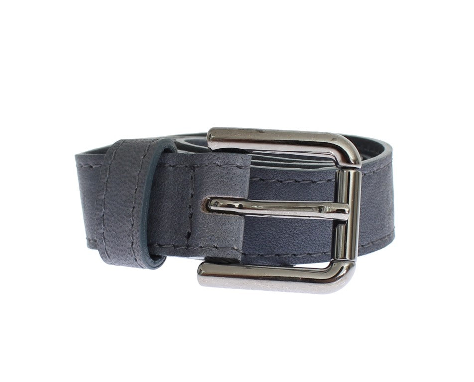 Blue Leather Silver Buckle Logo Belt - EnModaLife.Com
