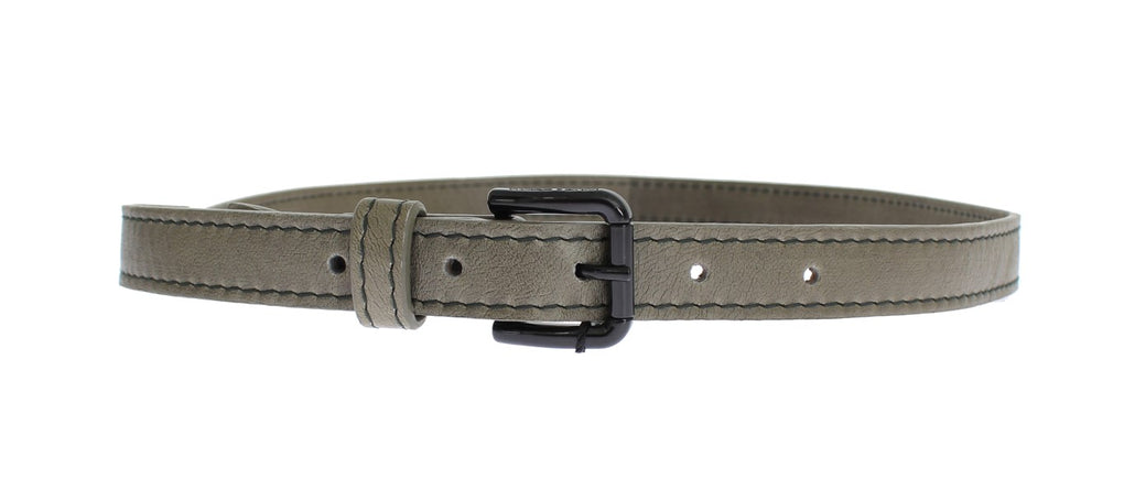 Gray Leather Black Buckle Logo Belt - EnModaLife.Com