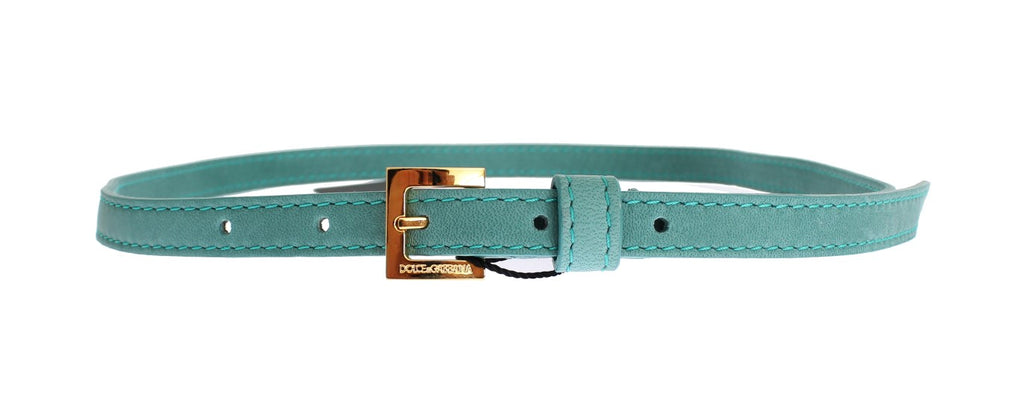 Green Leather Gold Buckle Logo Belt - EnModaLife.Com