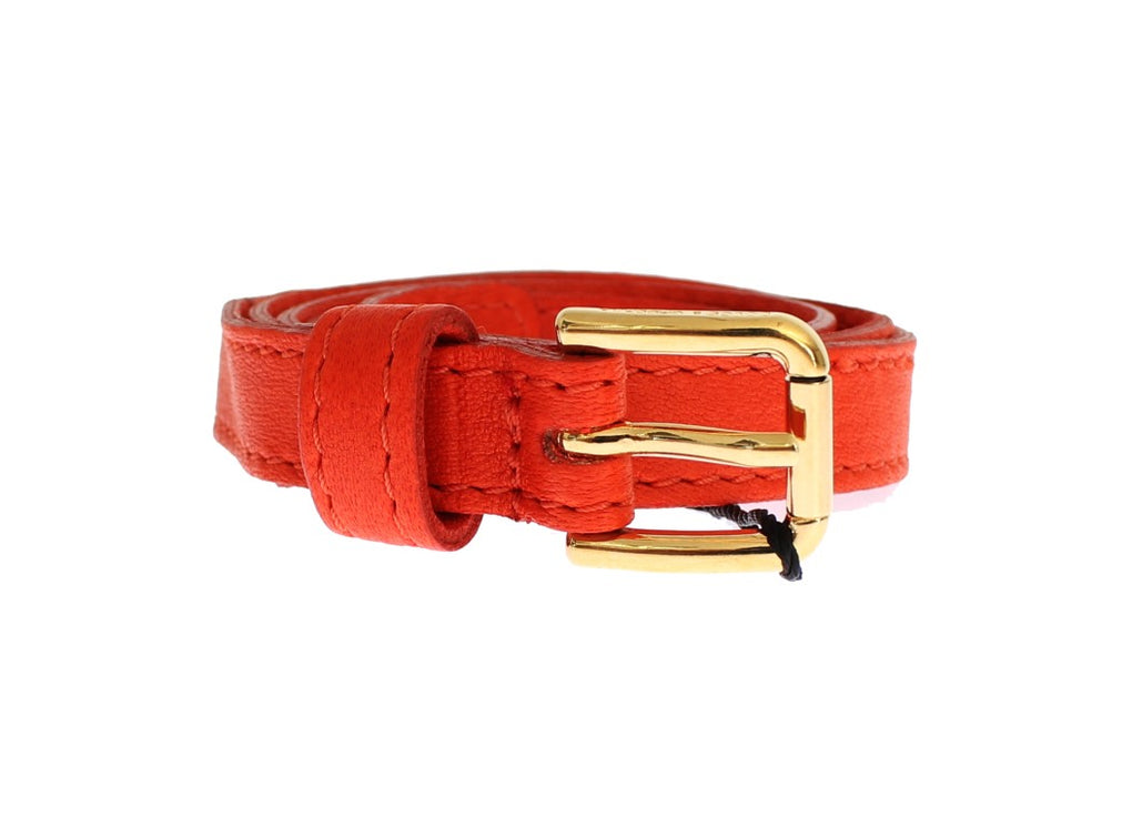 Orange Leather Gold Buckle Logo Belt - EnModaLife.Com