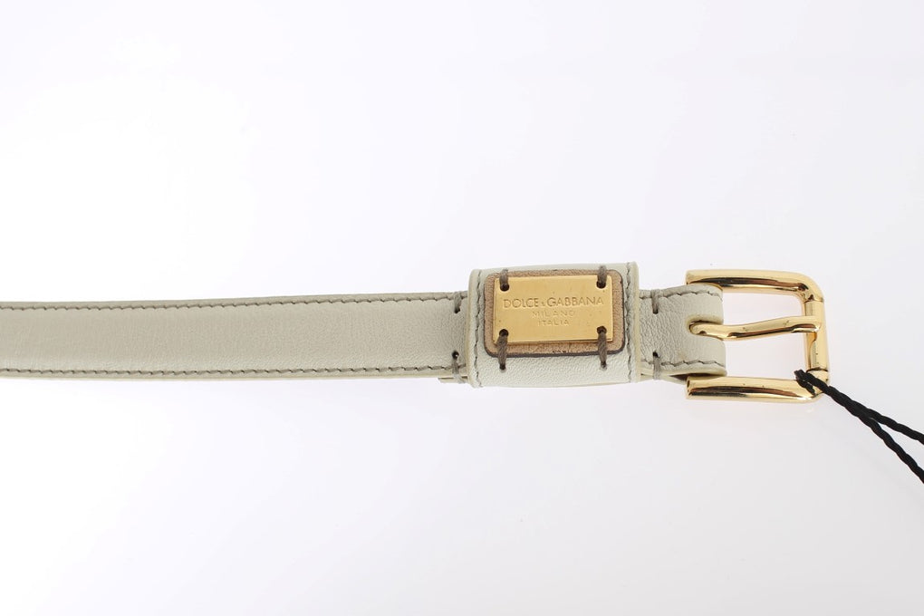 White Leather Gold Buckle Logo Waist Belt - EnModaLife.Com