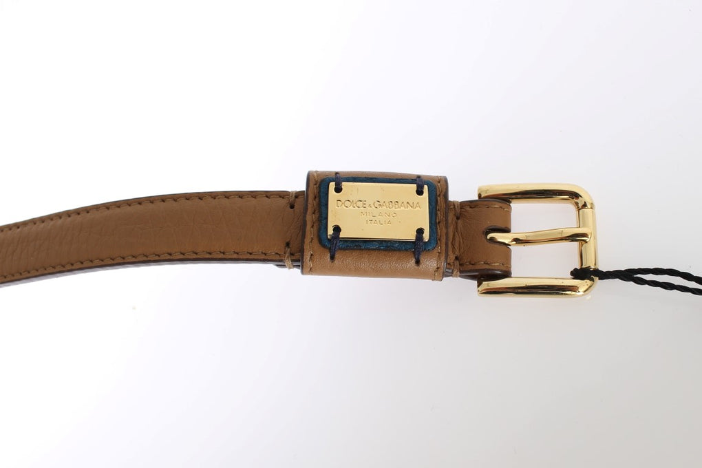 Brown Leather Gold Buckle Logo Waist Belt - EnModaLife.Com