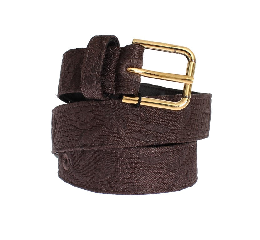 Brown Cotton Brocade Gold Buckle Logo Belt - EnModaLife.Com