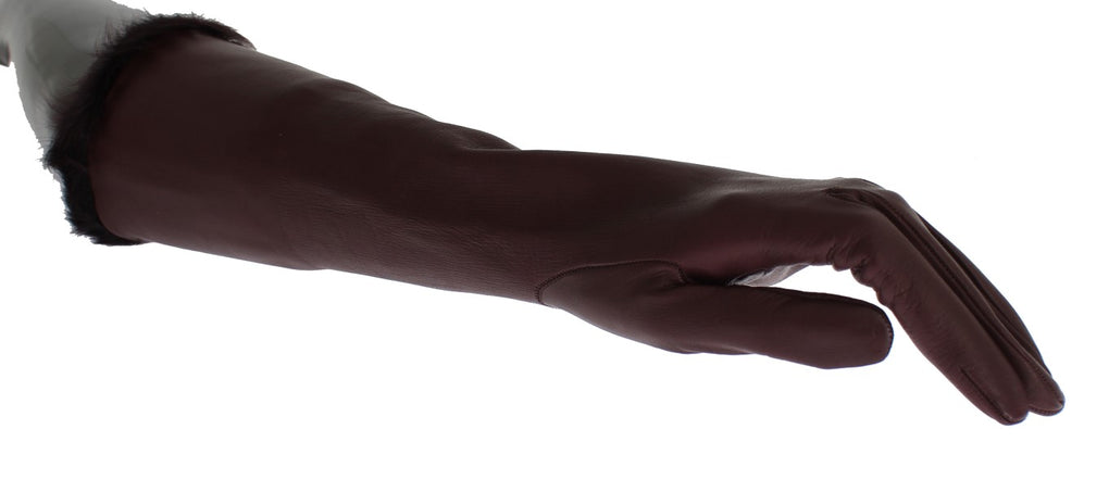 Bordeaux Leather Fur Silk Lined Elbow Gloves - EnModaLife.Com