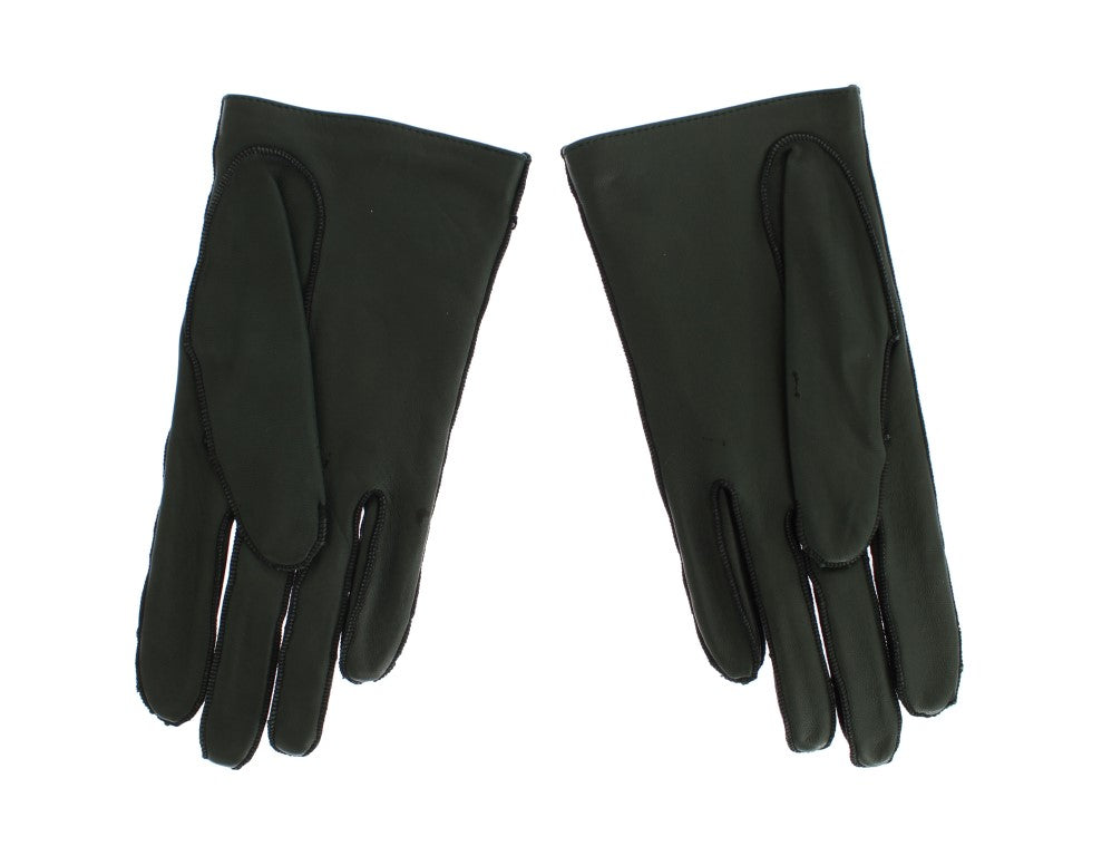 Green Leather Womens Hands Gloves - EnModaLife.Com