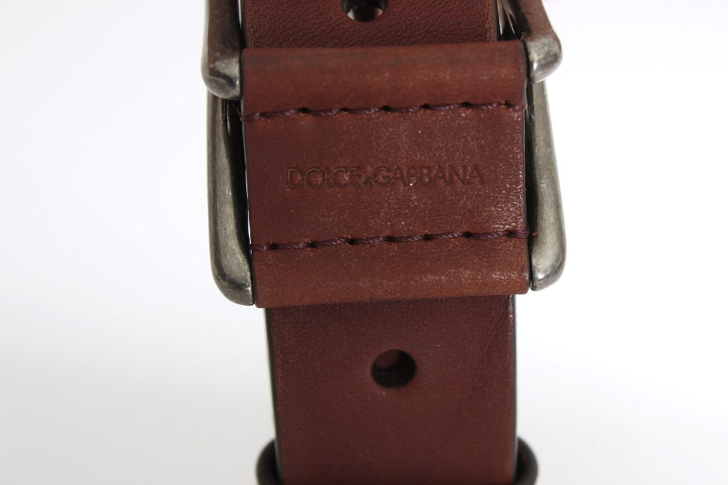 Brown Leather Logo Gold Buckle Belt - EnModaLife.Com