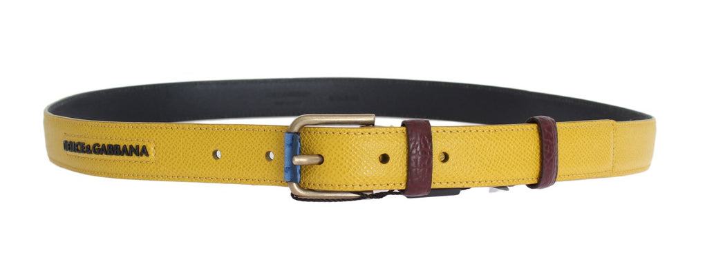 Yellow Leather Gold Buckle Belt - EnModaLife.Com