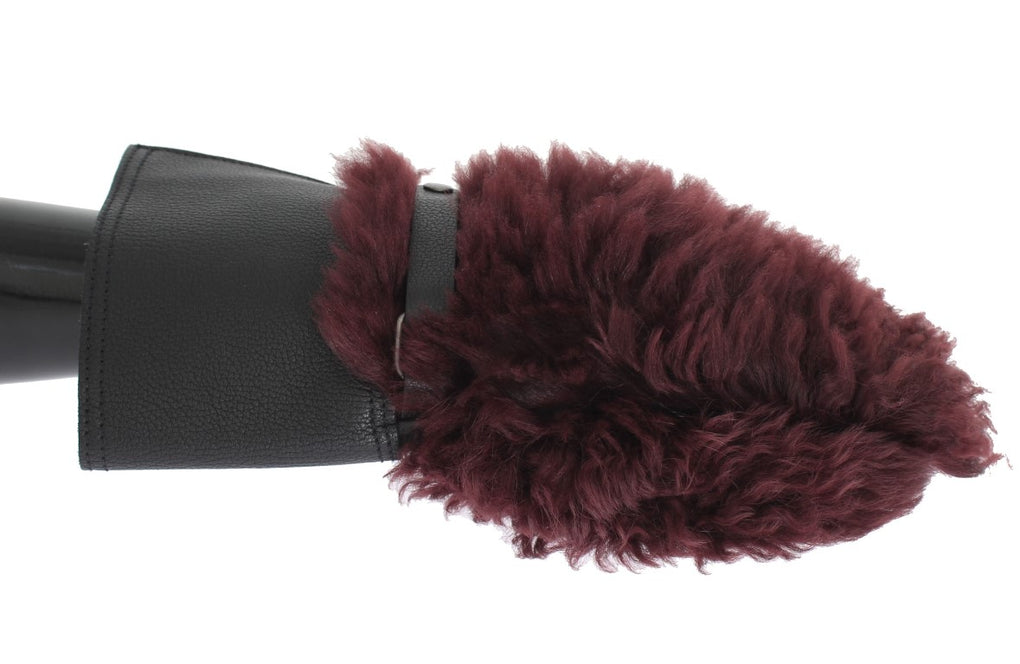 Black Leather Bordeaux Shearling Gloves - EnModaLife.Com
