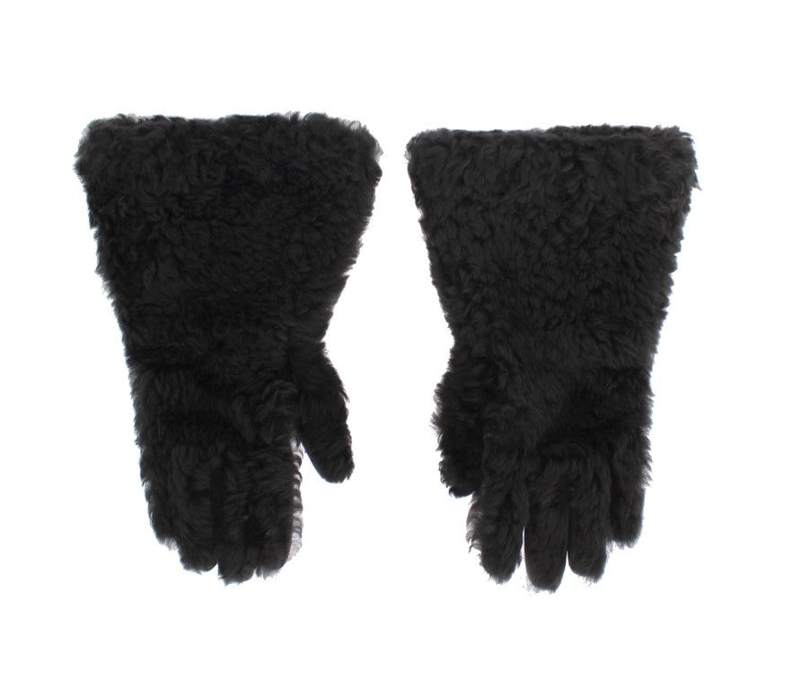 Gray Leather Shearling Fur Gloves - EnModaLife.Com