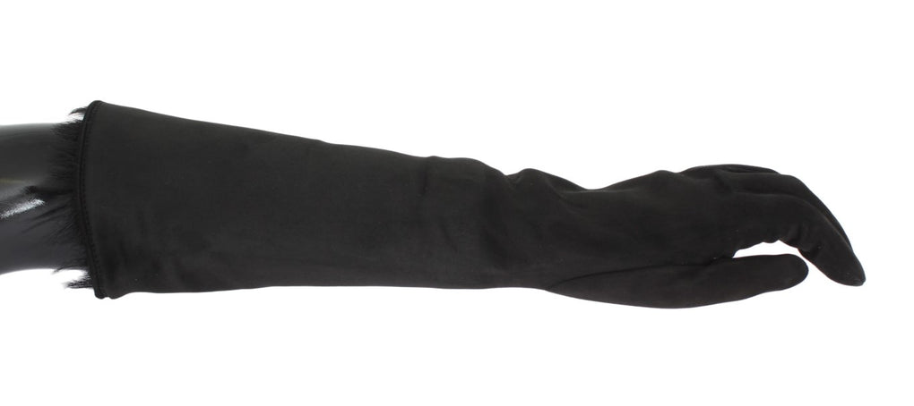 Black Gray Leather Fur Elbow Gloves - EnModaLife.Com