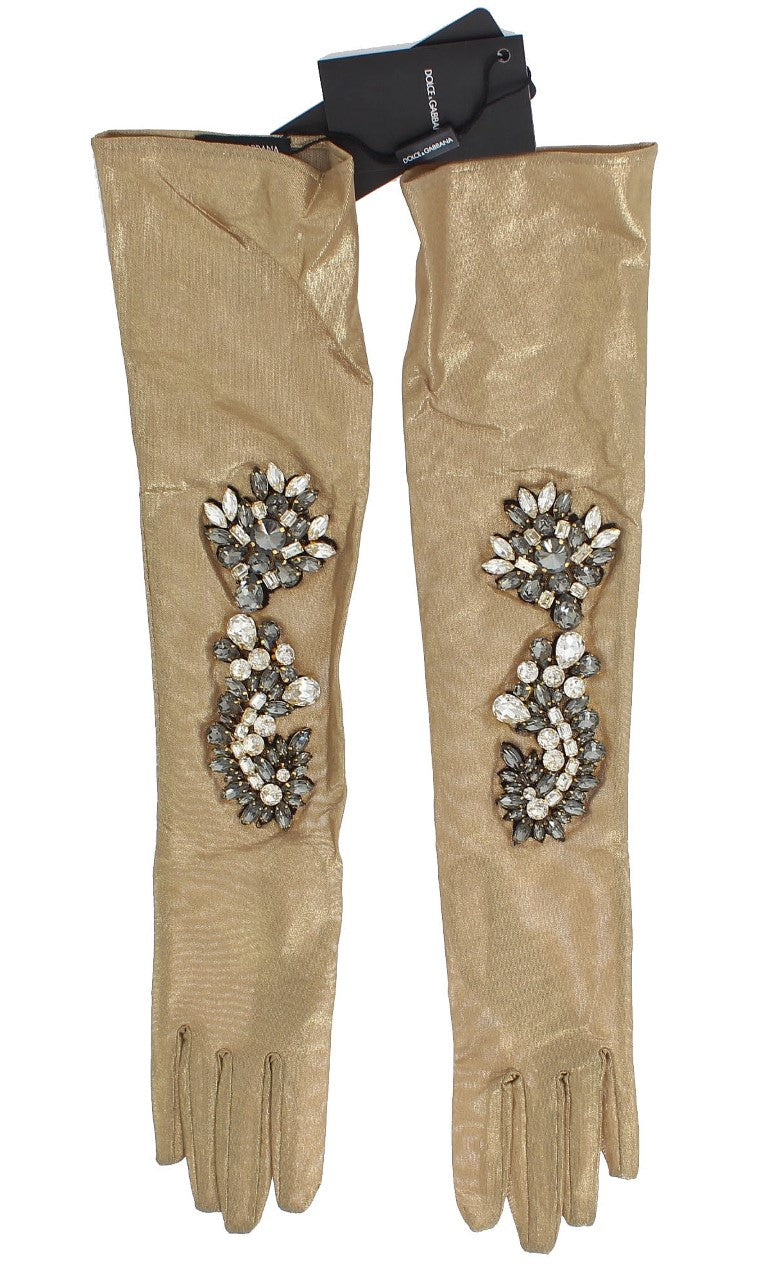 Gold Floral Crystal Elbow Long Gloves - EnModaLife.Com