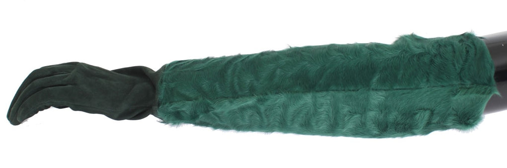 Green Leather Xiangao Fur Elbow Gloves - EnModaLife.Com