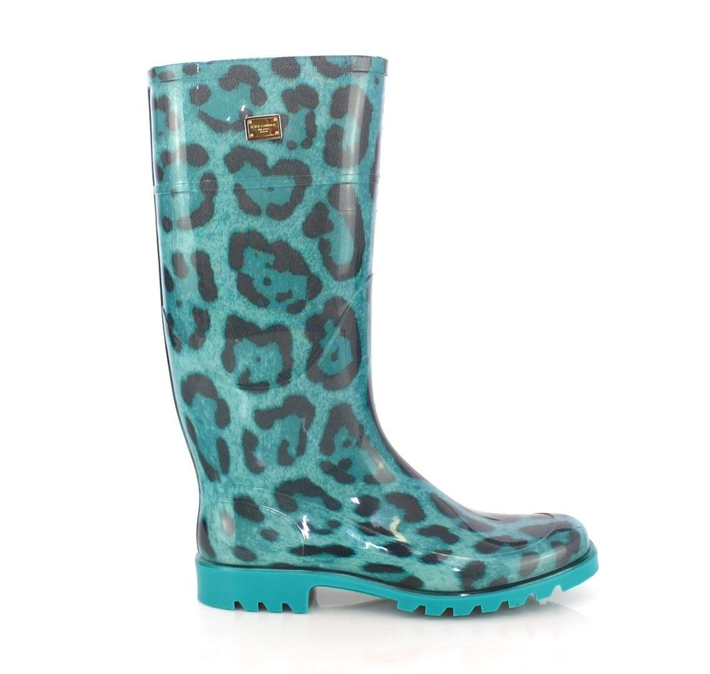 Blue Leopard Rubber Rain Boots Shoes Wellies - EnModaLife.Com