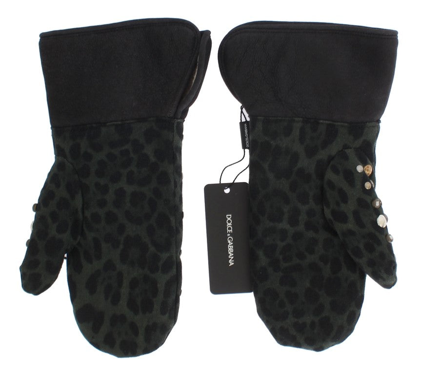 Gray Wool Shearling Studded Green Leopard Gloves - EnModaLife.Com