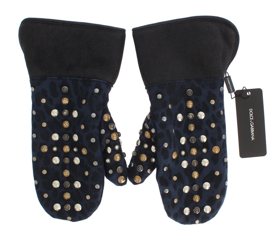 Gray Wool Shearling Studded Blue Leopard Gloves - EnModaLife.Com